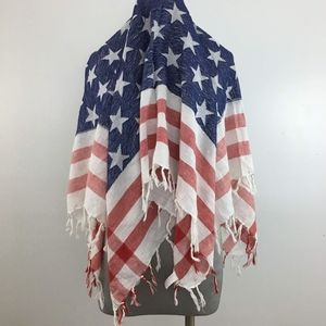 Mudd American Flag Fringe Independence Day Scarf